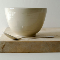 One high sided stoneware pottery bowl - glazed in simply clay