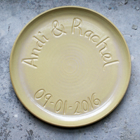 Made to order - Large commemorative platter with coupe style edge glazed in your