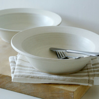 Made to order - Set of four pottery pasta bowls glazed in your choice of colour