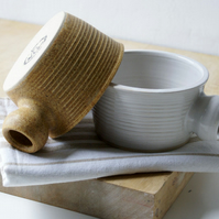 Set of two wide stoneware soup mugs - glazed in natural brown and white