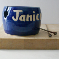 Made to Order - A customised hand thrown pottery yarn bowl with your message