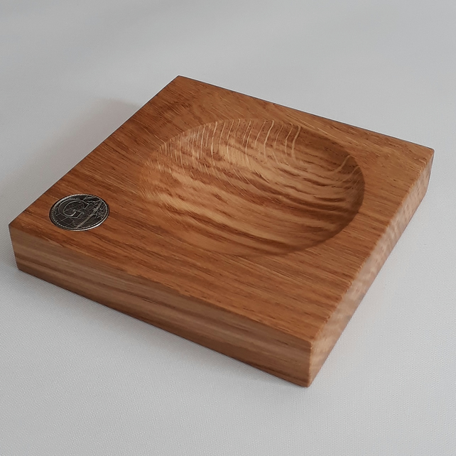 Solid Oak Personalised 10P Coin Change Dish