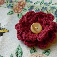 Crocheted Flower Brooch