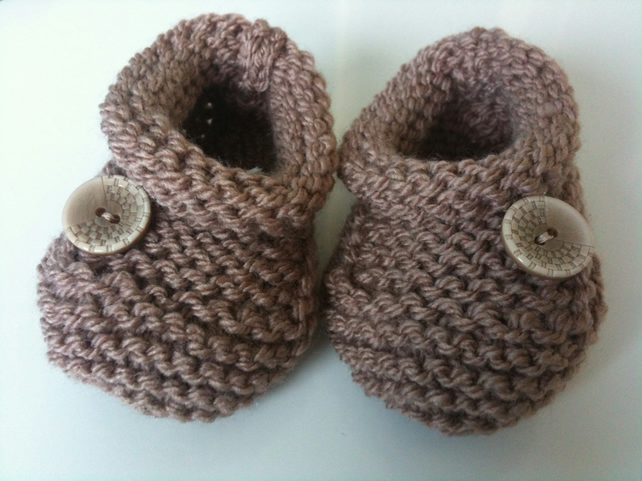 Hand Knitted Baby Shoes Or Bootees Brown Folksy