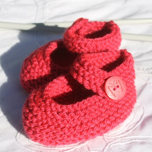 Mary Jane Baby Shoes or Booties - Bright Pink