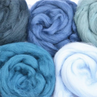 Set of blue merino wools, needle felting wools, wet felting wools