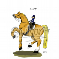'Dressage' 8 inch x10 inch horsey cartoon print