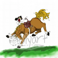 'Fun and Games' 8 inches by 10 inches Horsey Cartoon Print