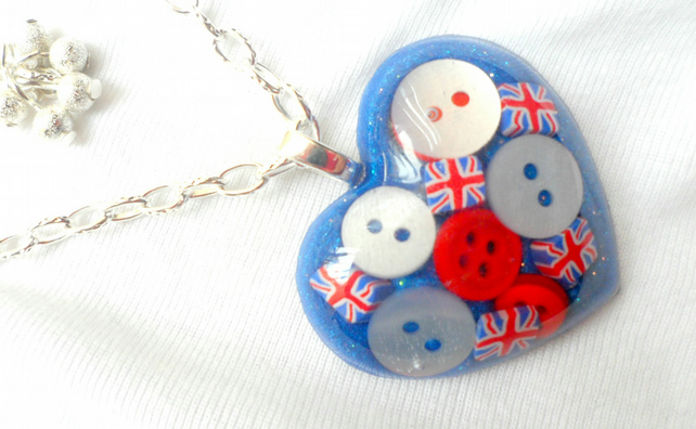 Red, White and Blue Button and Shimmer pendant, necklace,  British, Jubilee