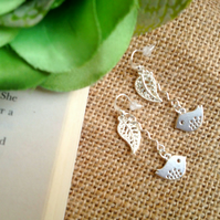 Gorgeous Bird and Leaf Drop Earrings  - Silver Colour