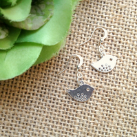 Gorgeous Bird Chick Drop Earrings - Silver Colour