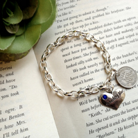 Lucky Something Blue Bridal Sixpence Bracelet - Gift, Bridesmaid, Maid of Honour