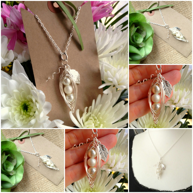 "3 Ivory Peas-in-a-Pod Family Handmade Pendant on 18"" chain - Bridal"