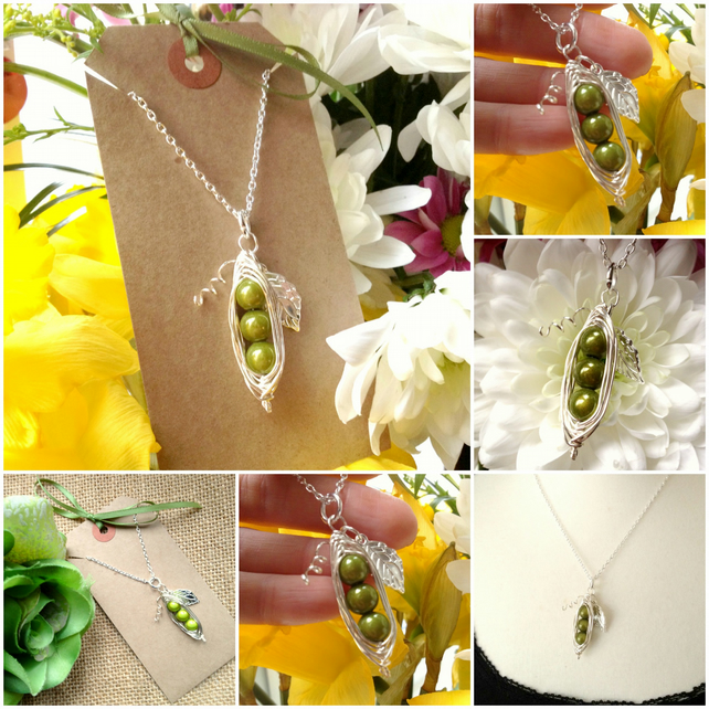 "Sales 3 Green Peas-in-a-Pod Pea Family  Handmade Pendant on 18"" chain"