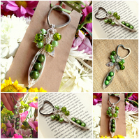 Personalised BAG CHARM KEYRING Green Peas-in-a-Pod Family Handmade