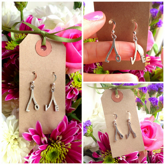 LOVE Earrings  - Silver Colour - Cuteness in your Ears