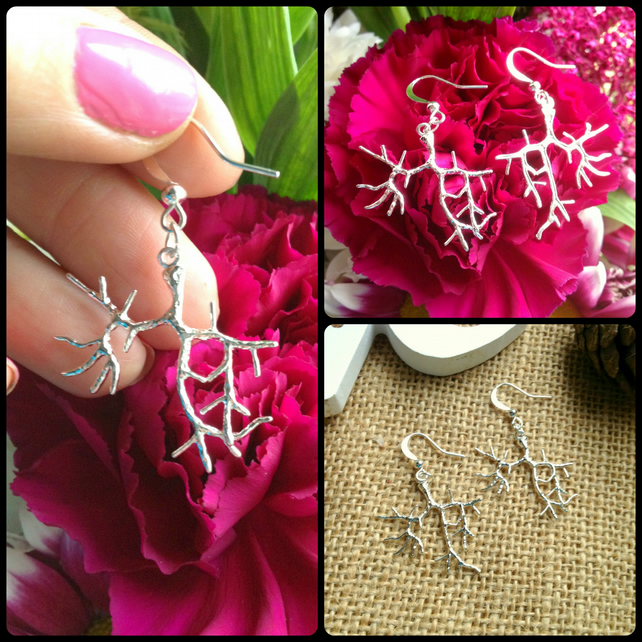 SALE  Gorgeous Silver Plated Tree Branch Earrings