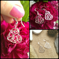 Beautiful Silver Plated Ornate Heart Earrings