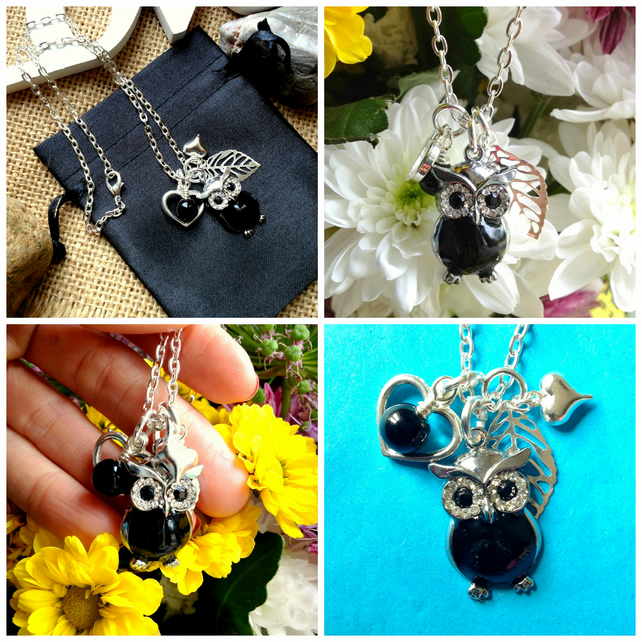 "Owl and Onyx Necklace on 18"" chain"
