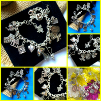 Alice in Wonderland Themes Charm Bracelet