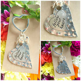 Follow Your Heart Keyring Bag Charm