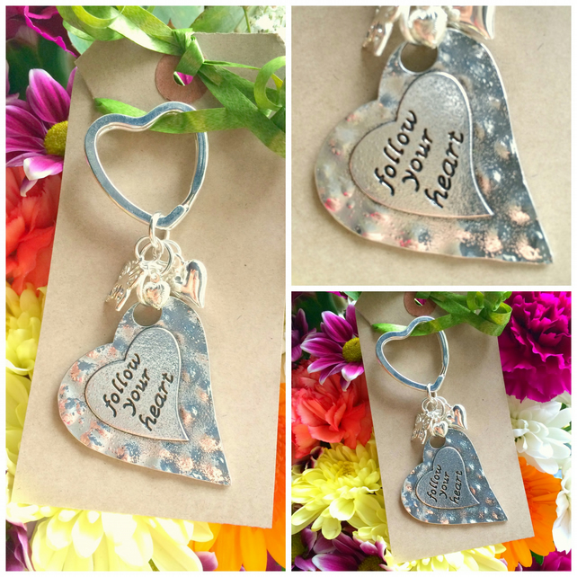 Sale Follow Your Heart Keyring Bag Charm