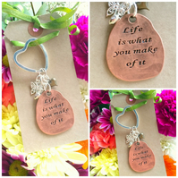 Sale Life is what you make of it  Keyring  Bag Charm