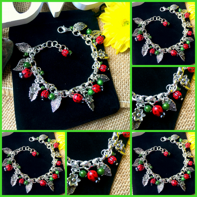Beautiful Ladybird and Leaves Bracelet  - summer, spring