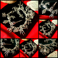 Sale Gothic Themed Charm Bracelet