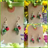 Cute Miniature Ladybird Ladybug and Leaf Earrings