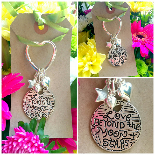 Love Beyond the Moon and the Stars Keyring  Bag Charm