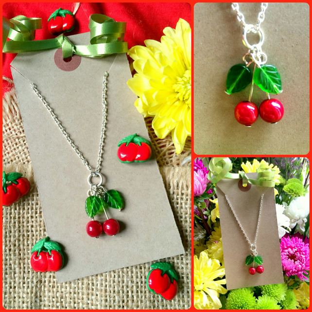 Fun Cheek Cherry Kitsch Pendant Necklace