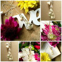 OFFER - Real Cream Dried Flowers in a glass vial, Heart and Glass Bell Flower