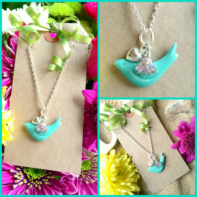 Teal Ceramic Bird Pendant with Heart and small Glass AB coated flower