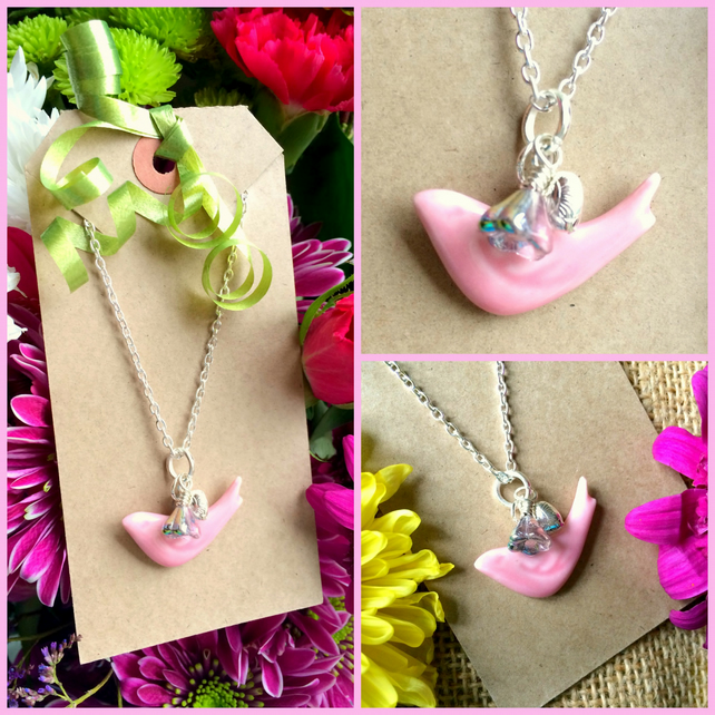 Discontinued  Pink Ceramic Bird Pendant with Heart and  Glass AB coated flower