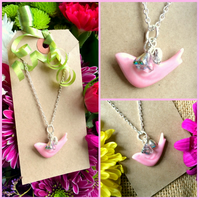 Pale Pink Ceramic Bird Pendant with Heart and small Glass AB coated flower
