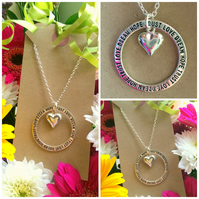 Love Hope Trust Dream Pendant with Heart necklace Affirmation