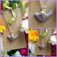 Discontinued Lilac Purple Ceramic Bird Pendant with Heart Glass AB coated flower