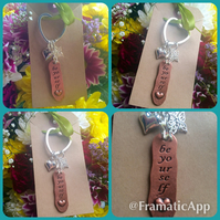 SALE - Be Yourself keyring bagcharm - Butterfly, Heart, Star