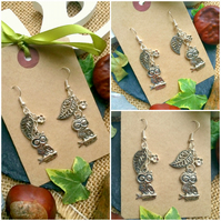 Owl Drop Earrings - Leaf, Flower Silver Colour