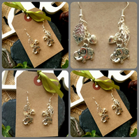 Elephant and Leaf Drop Earrings - Silver Colour