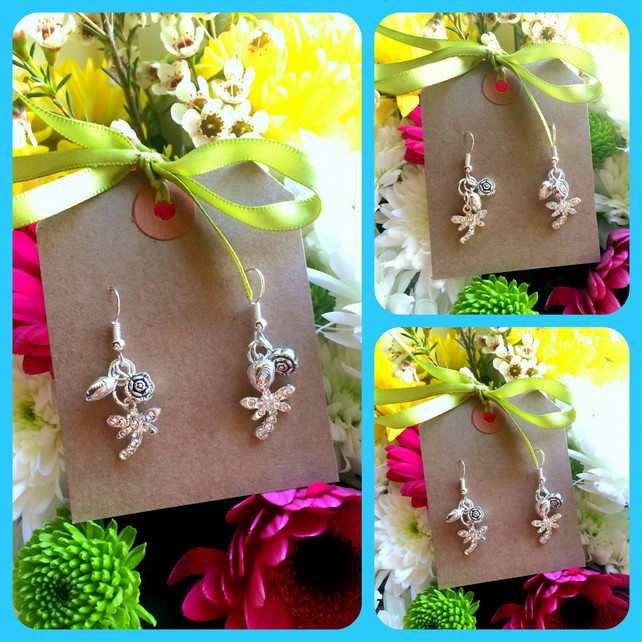 Small Dragonfly Rhinestone cluster Earrings