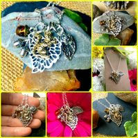 "Squirrel, Leaf and Nuts Cluster Necklace on an 18"" chain"