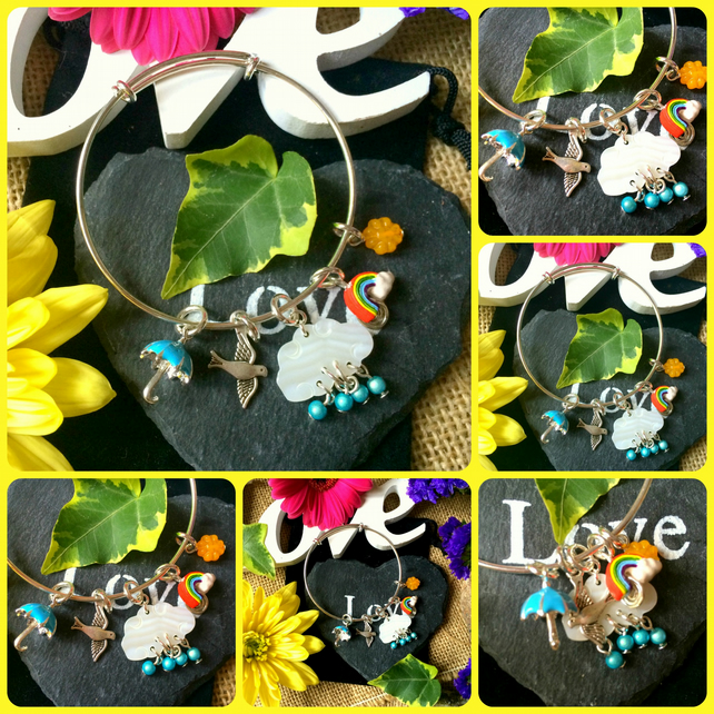 "Sale ""What the weatherman says"" Cheerful Sliding charm bracelet"