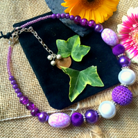 "SALE  - Purple beaded necklace 16.5"" and 20"" with extension chain"