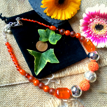 "SALE - Orange beaded necklace 16"" and 19.5"" with extension chain"