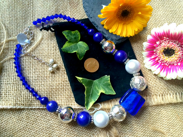 "SALE - Blue beaded necklace 17"" and 21"" with extension chain"