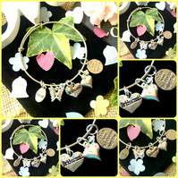 Bridesmaid Sliding charm bracelet - Thank You
