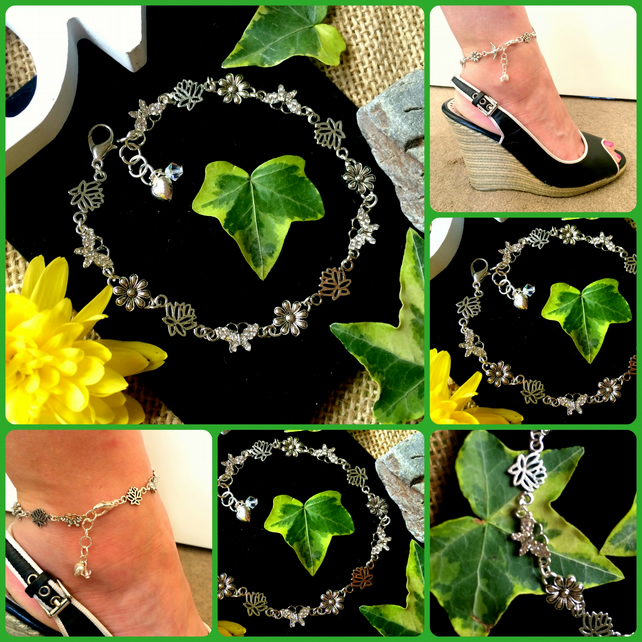 Butterfly and Flower ANKLET Ankle Bracelet