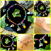 Rainbow ANKLET - Rainbow Illusion Ankle Bracelet
